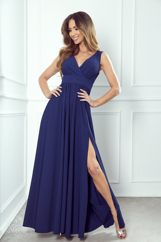 Dlhé plesové šaty s rázporkom námornícke modré - 34