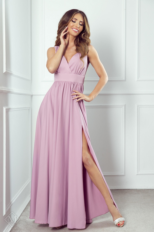 Dlhé plesové šaty s rázporkom ružové - 34