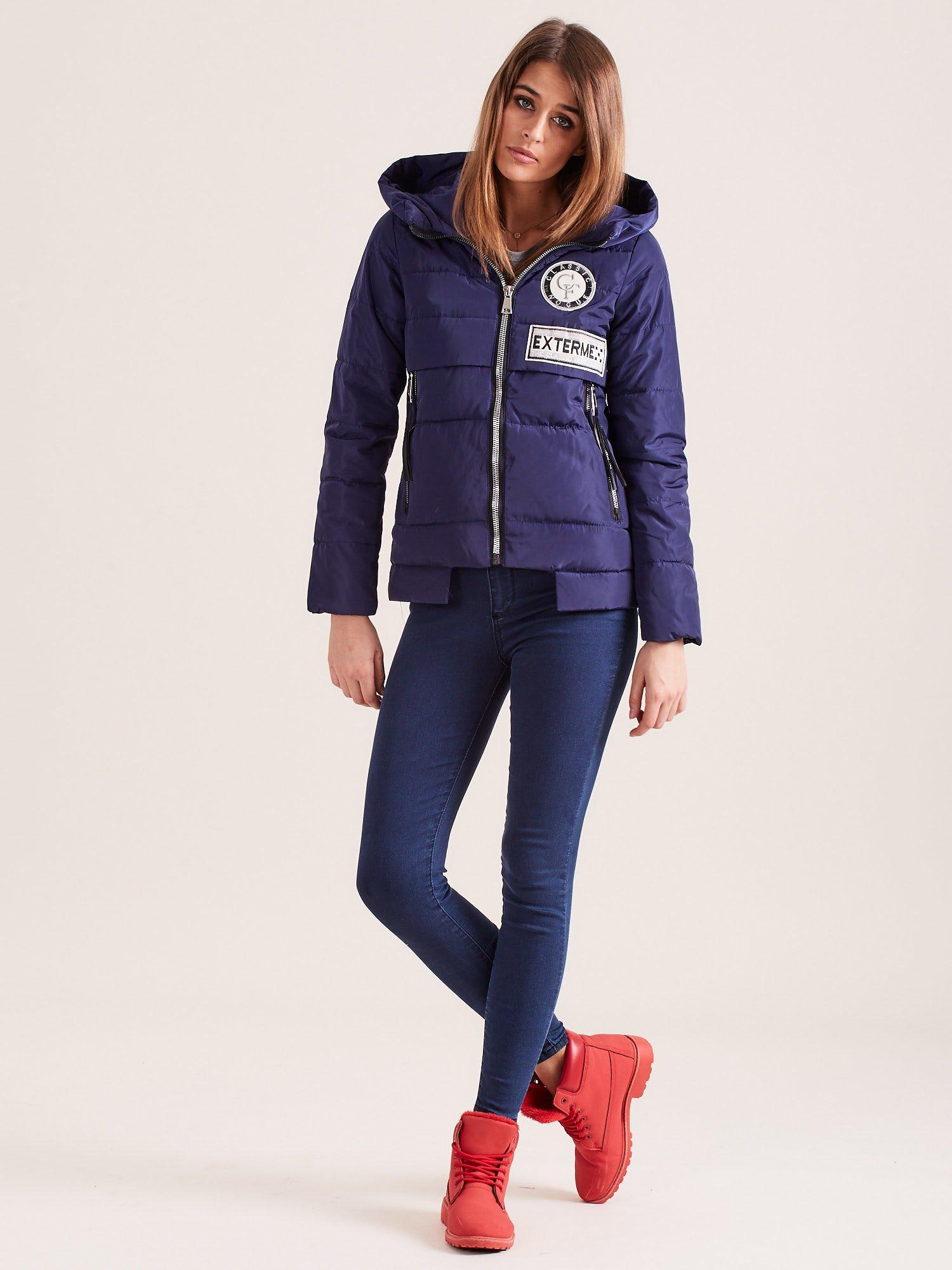 Krátka zimná bunda tmavomodrej farby - S