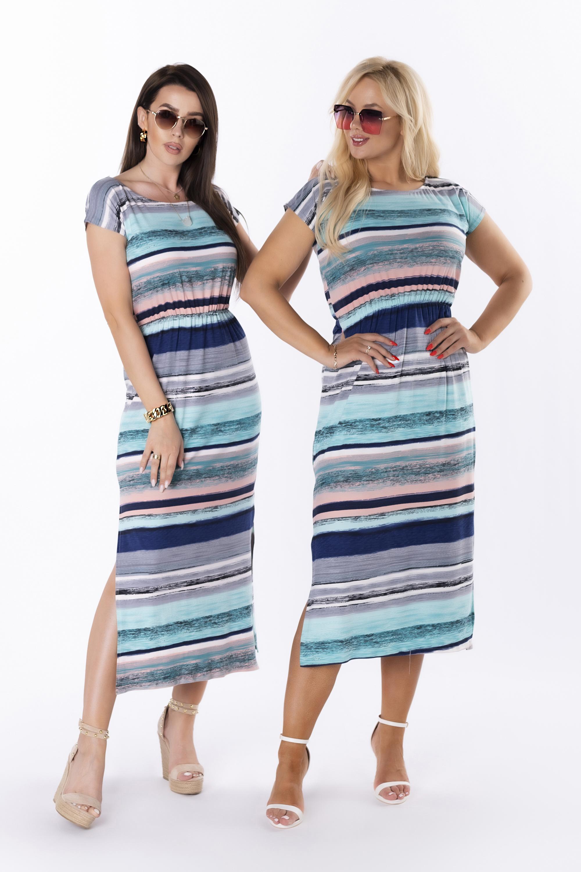 Pruhované ležérne šaty s kontrastným vzorom - 44
