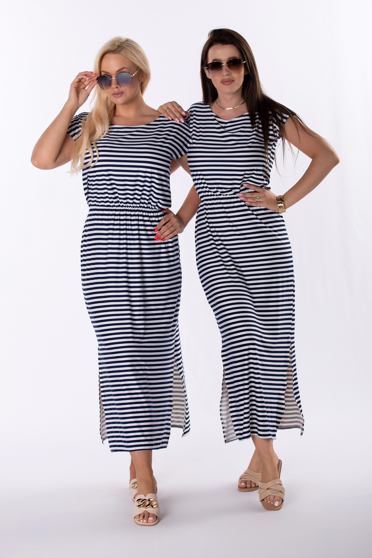 Čiernobiele pruhované šaty - 44