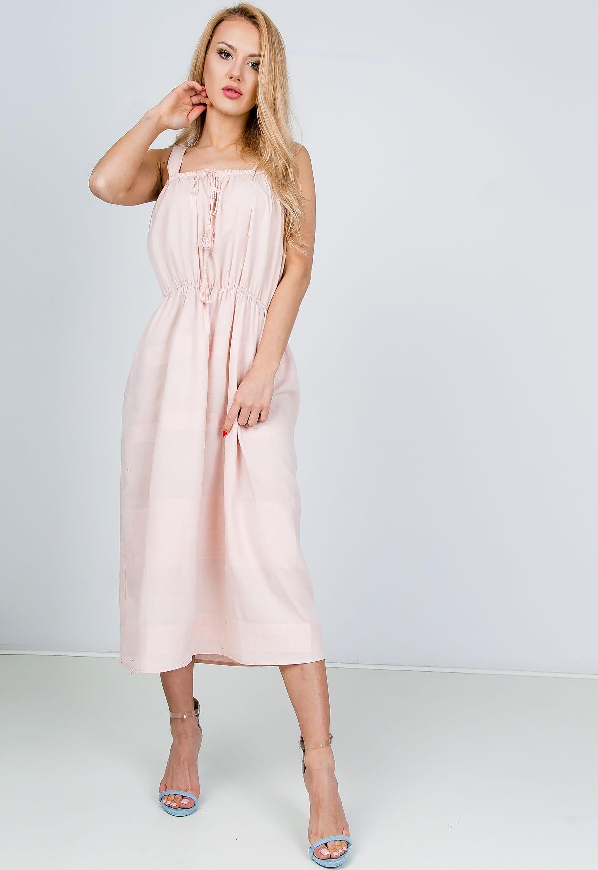 Svetlo ružové dlhé šaty na ramienka - L