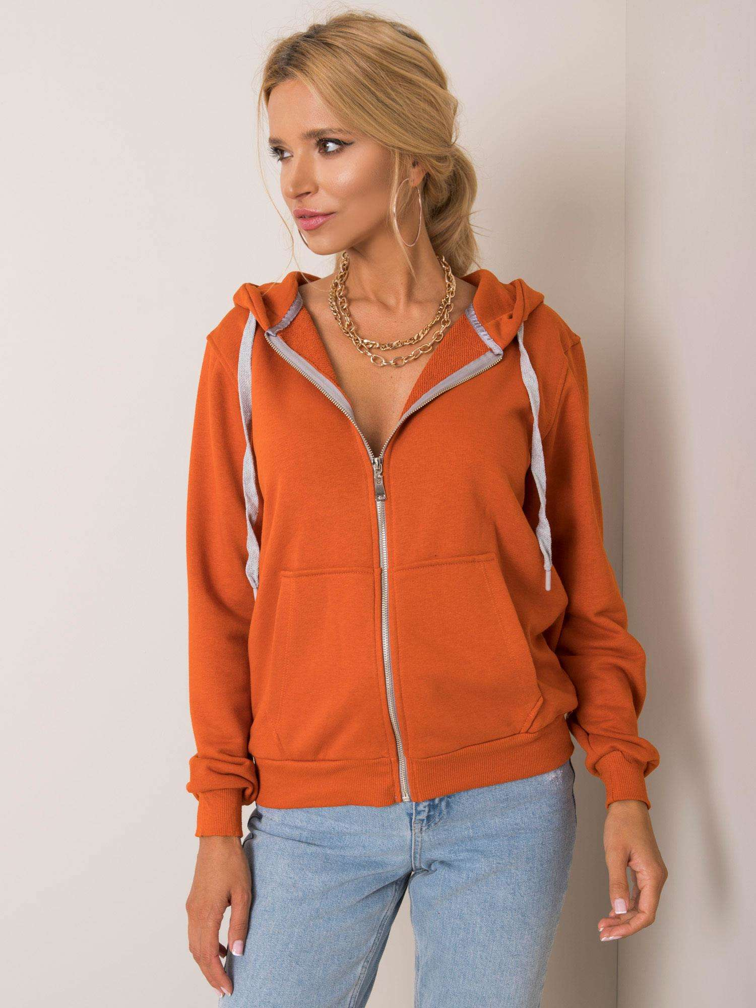 Tmavo oranžová bavlnená mikina - L