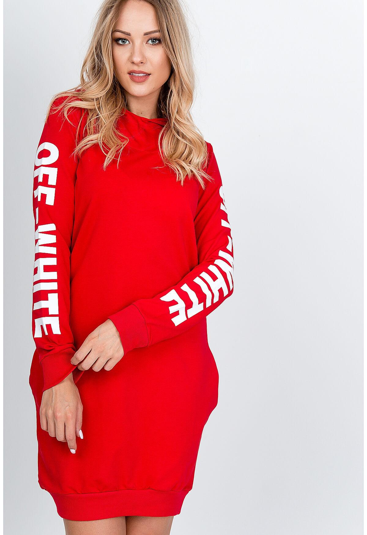 Červené mikinové šaty s kapucňou - UNI