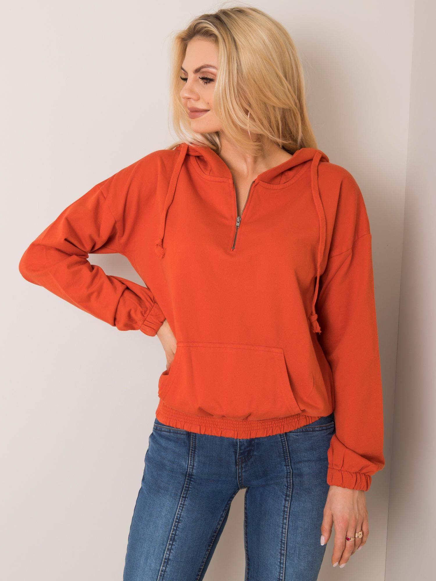 Tmavo oranžová dámska mikina - S