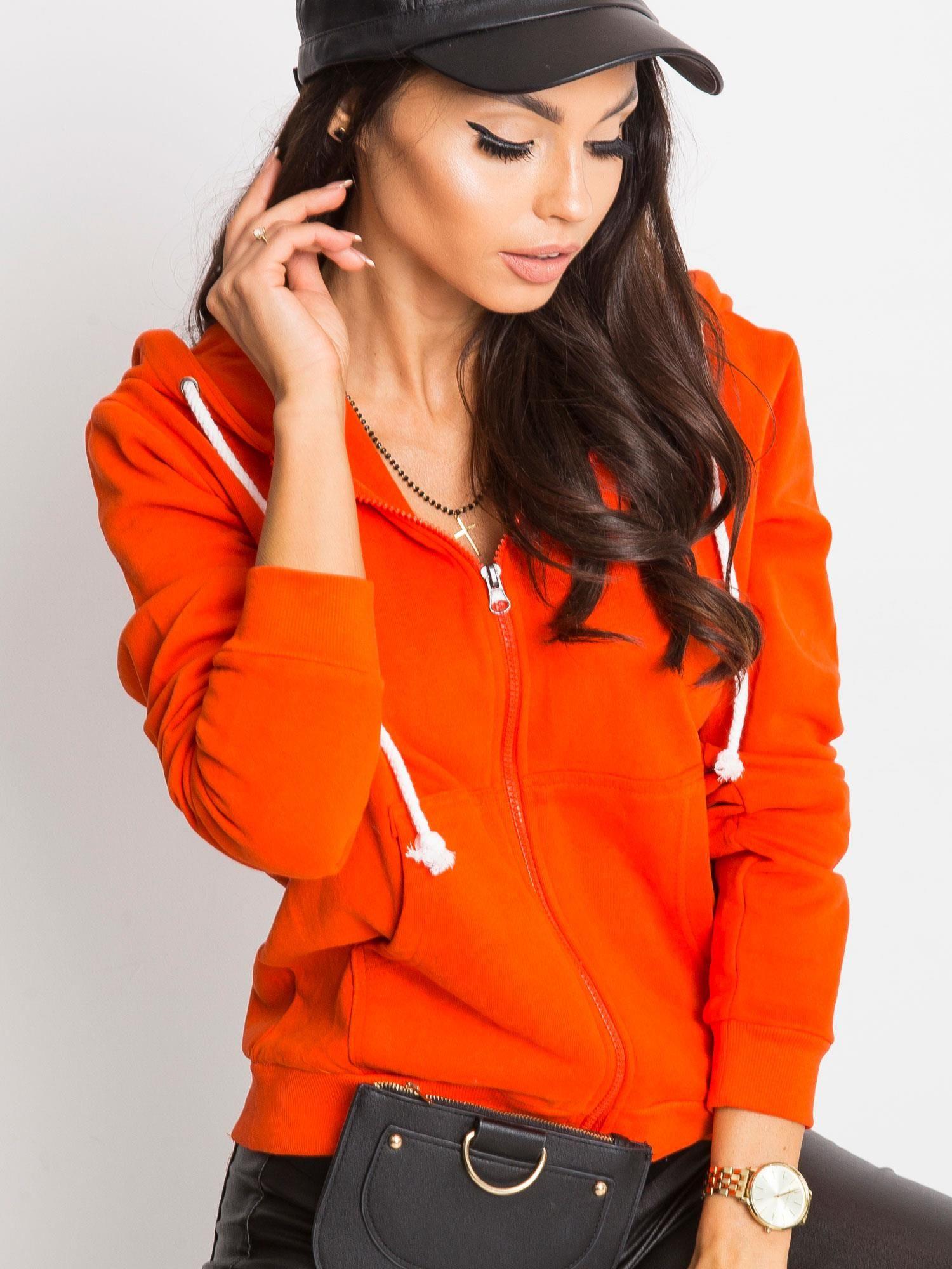 Tmavo oranžová klasická mikina - M