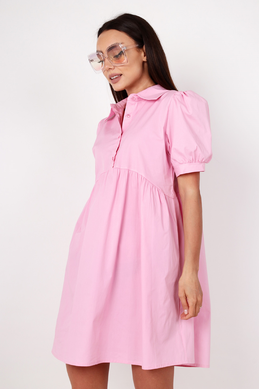 Ružové krátke voľné šaty košeľového strihu - M