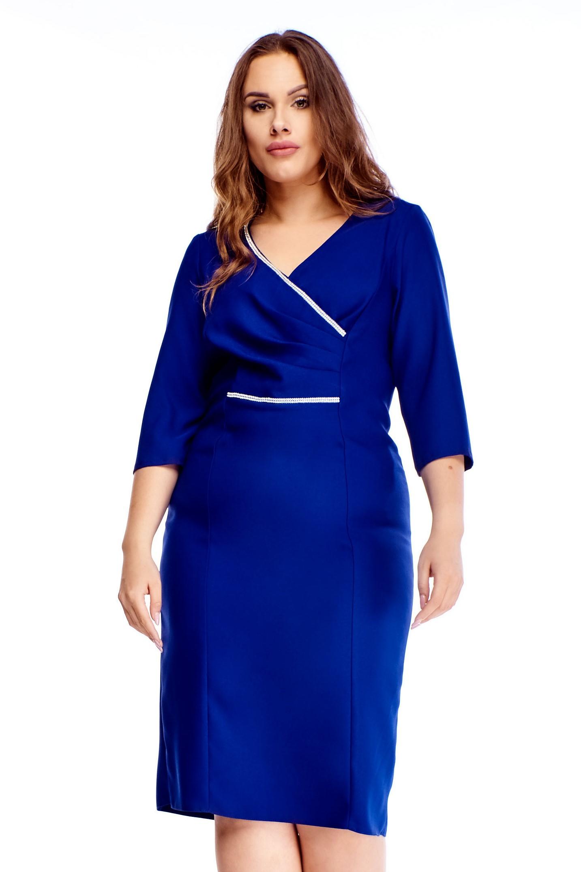 Modré elegantné puzdrové šaty - 44