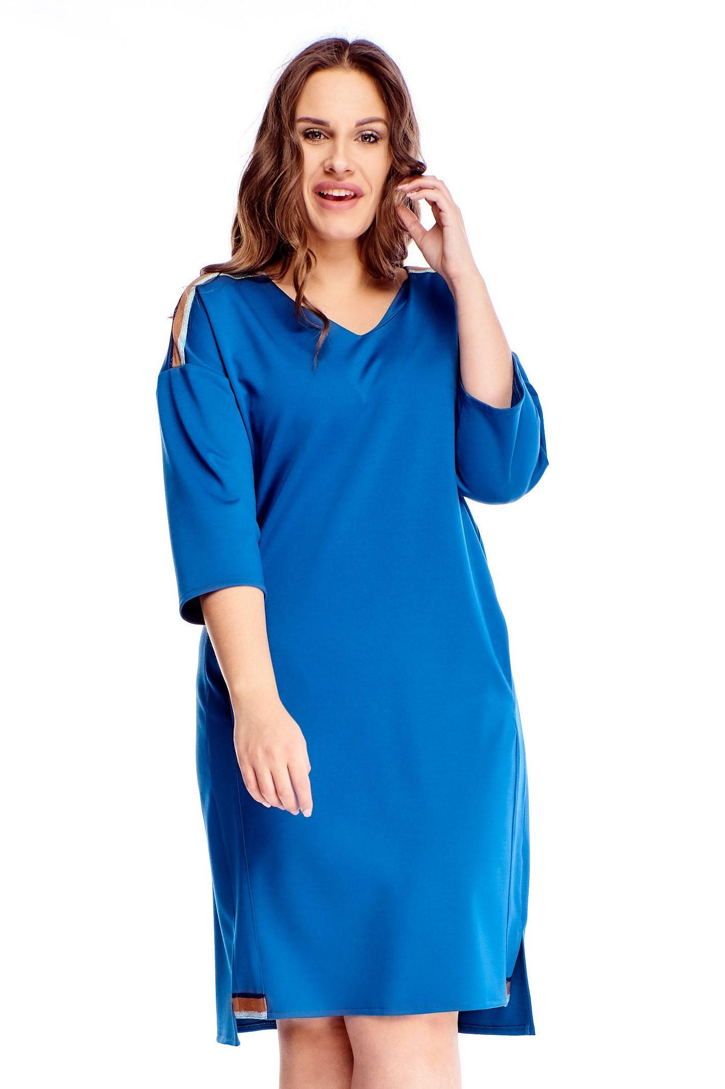 Modré krátke šaty s vreckami a prúžkami - 38