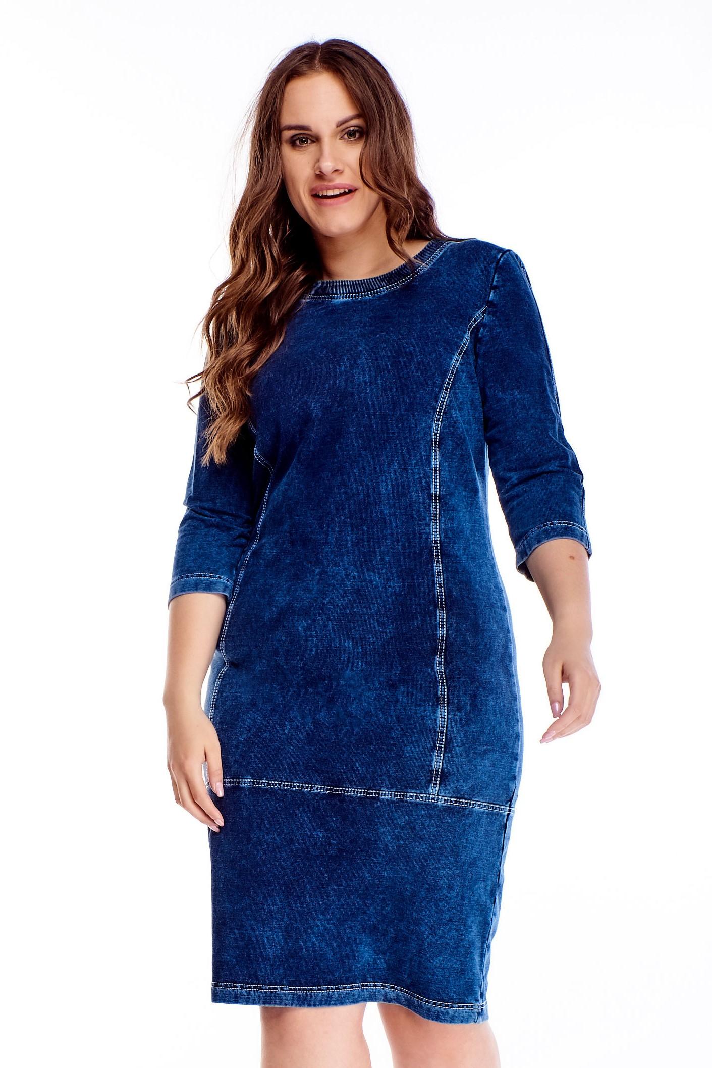 Modré rifľové šaty - 44