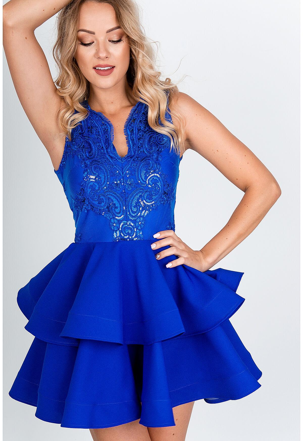 Modré spoločenské šaty s volanovou sukňou - XS