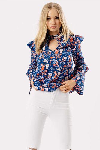 Modrý folk top s kvetinovým vzorom