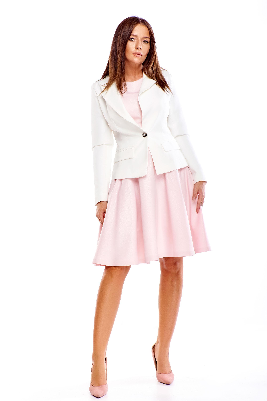 Zateplené smotanovo biele dámske sako - 36