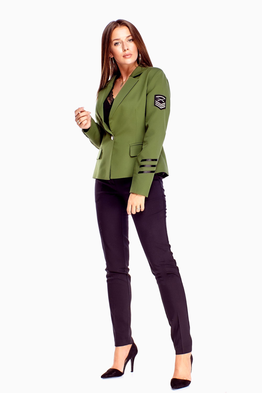 Zateplené zelené dámske sako - 36