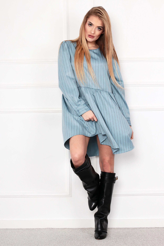 Nadrozmerné krátke šaty odrezané v páse modré - UNI