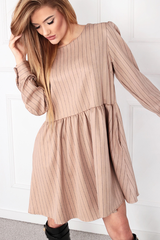 Nadrozmerné krátke šaty odrezané v páse ružové - UNI