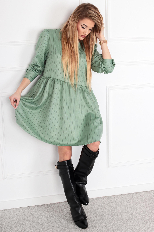 Nadrozmerné krátke šaty odrezané v páse zelené - UNI