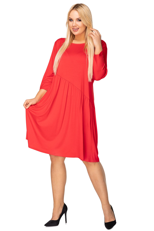 Nadrozmerné šaty s viazaním na chrbte červené - XXL