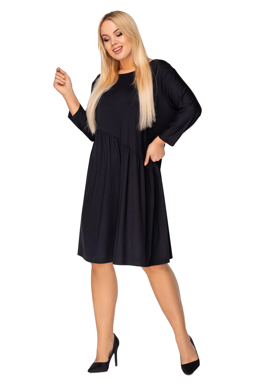 Nadrozmerné šaty s viazaním na chrbte čierne - XXL
