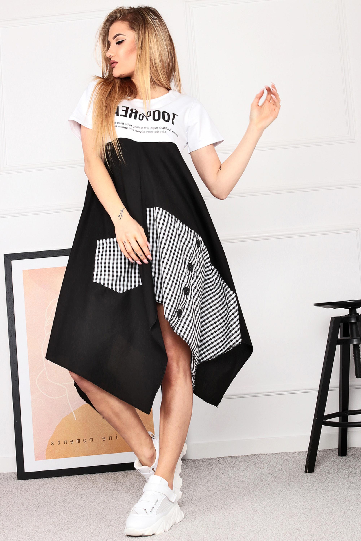 Nadrozmerné mladistvé šaty čierno-biele - UNI