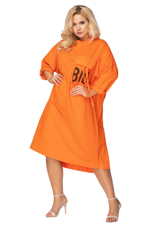 Nadrozmerné oranžové šaty s predĺženým chrbtom - UNI