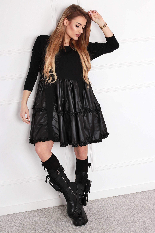 Nadrozmerné šaty s koženou sukňou čierne - L