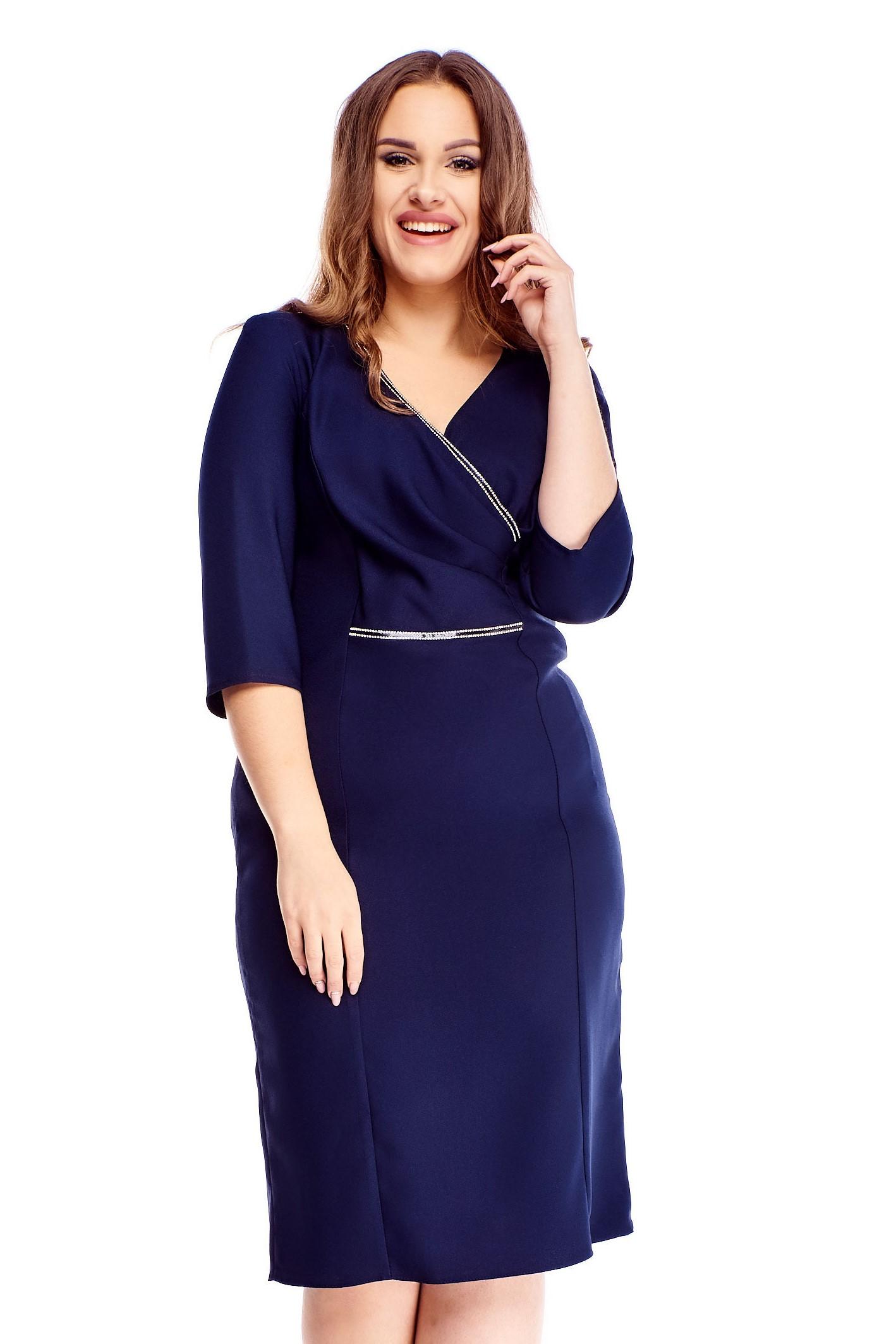 Námornícke modré elegantné puzdrové šaty - 44