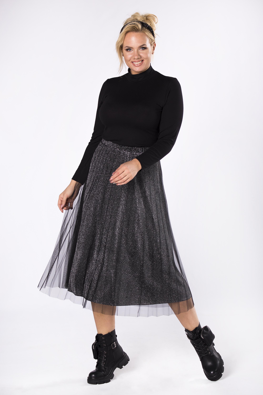 Čierna nariasená tylová sukňa - 42