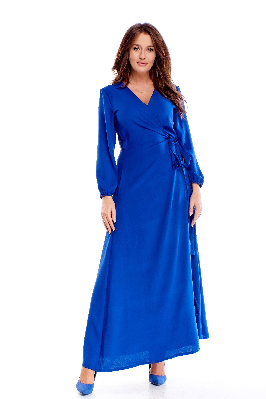 Dlhé spoločenské šaty s viazaním modré - 38
