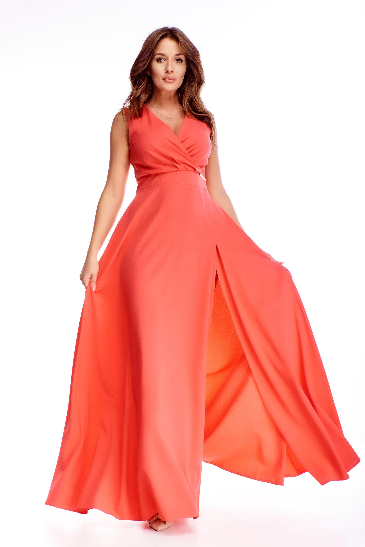 Dlhé plesové šaty v svetločervenej farbe - 48