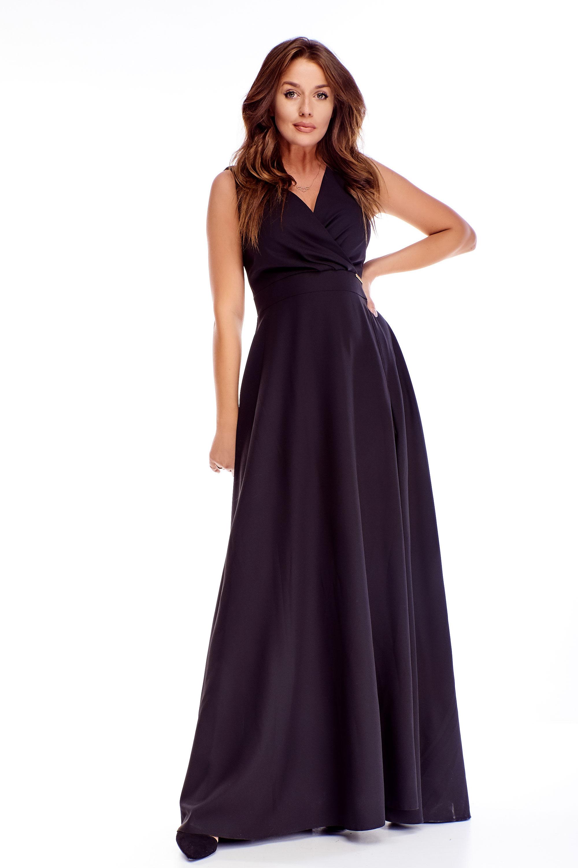 Dlhé plesové šaty v čiernej farbe - 48