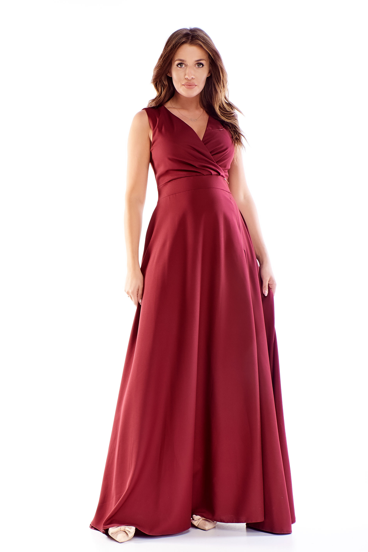 Dlhé plesové šaty v bordovej farbe - 48