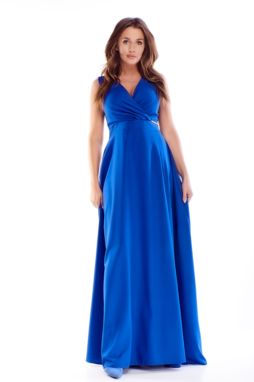 Dlhé plesové šaty v modrej farbe - 36