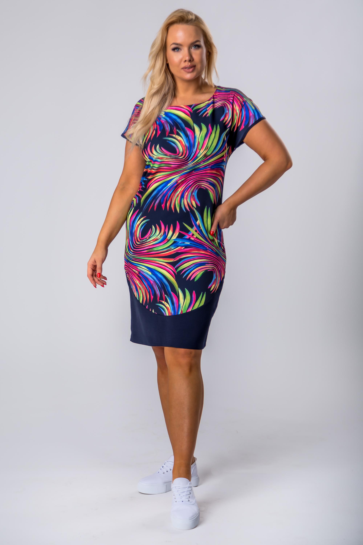 Puzdrové letné šaty s krátkymi rukávmi a výraznou potlačou - 42