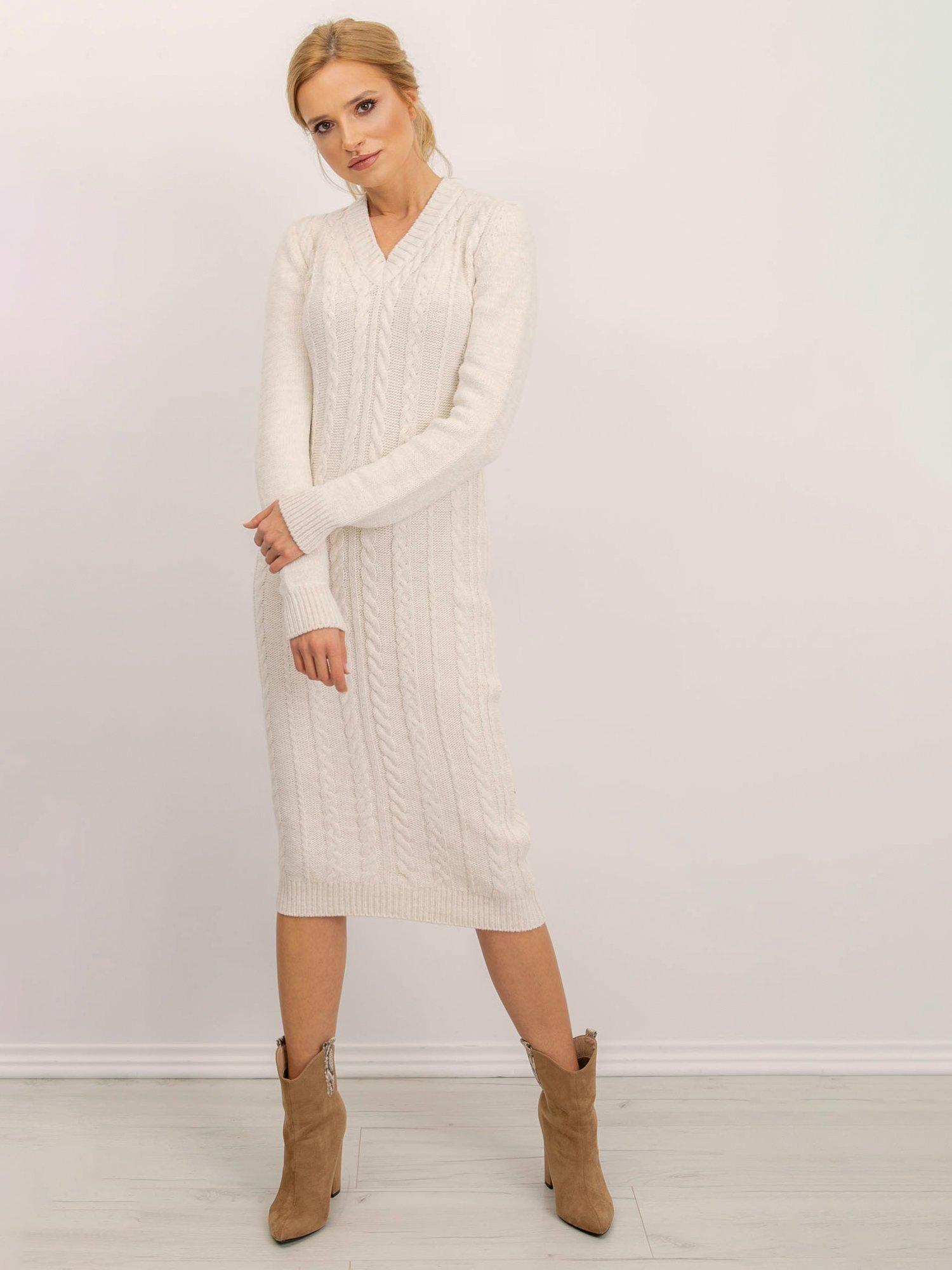 Smotanové pletené šaty - M
