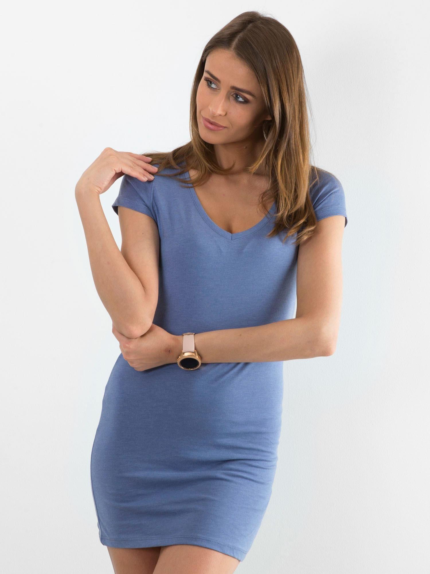 Bavlnené modré šaty s výstrihom do V - S