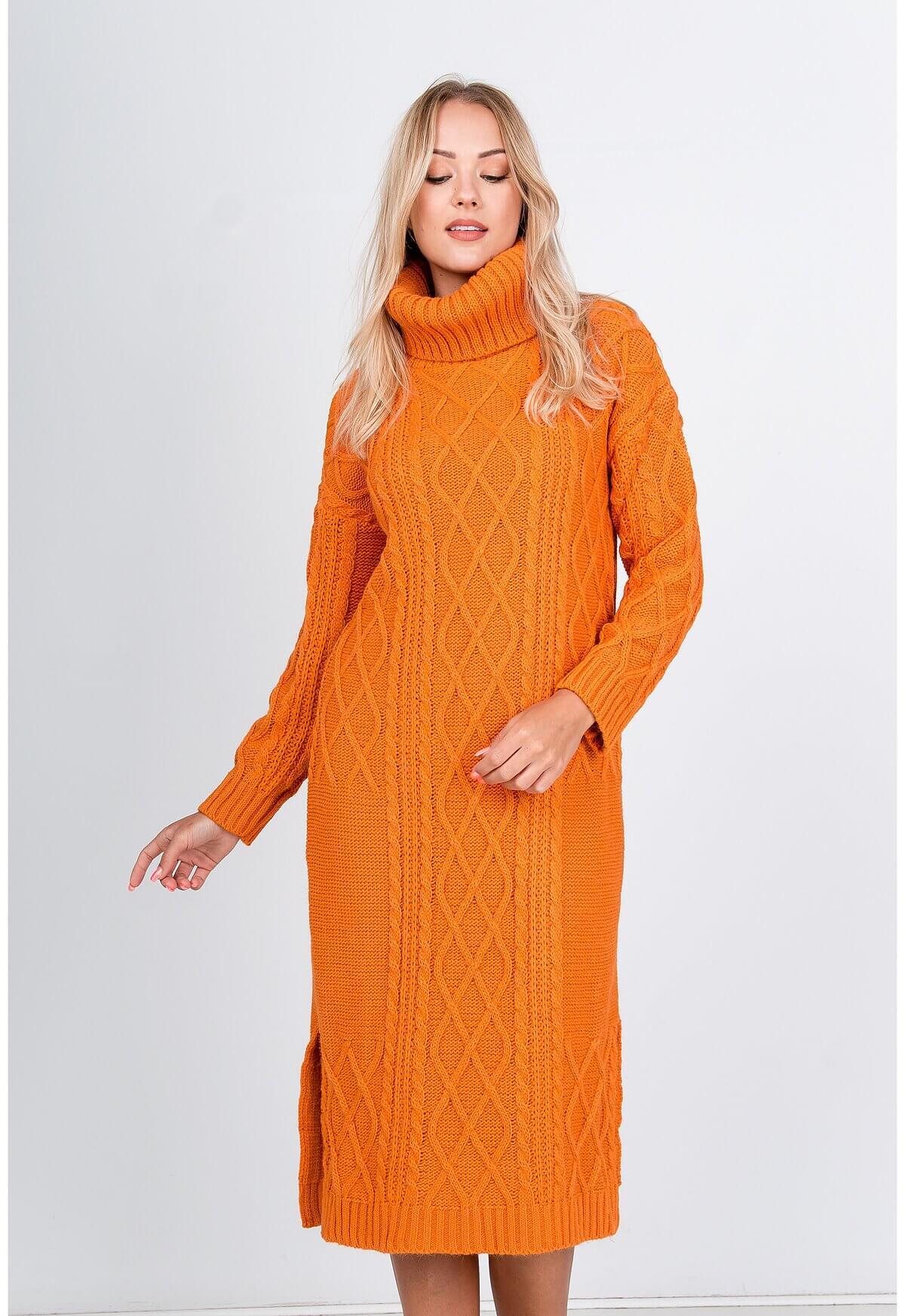 Oranžové midi pletené šaty s golierom