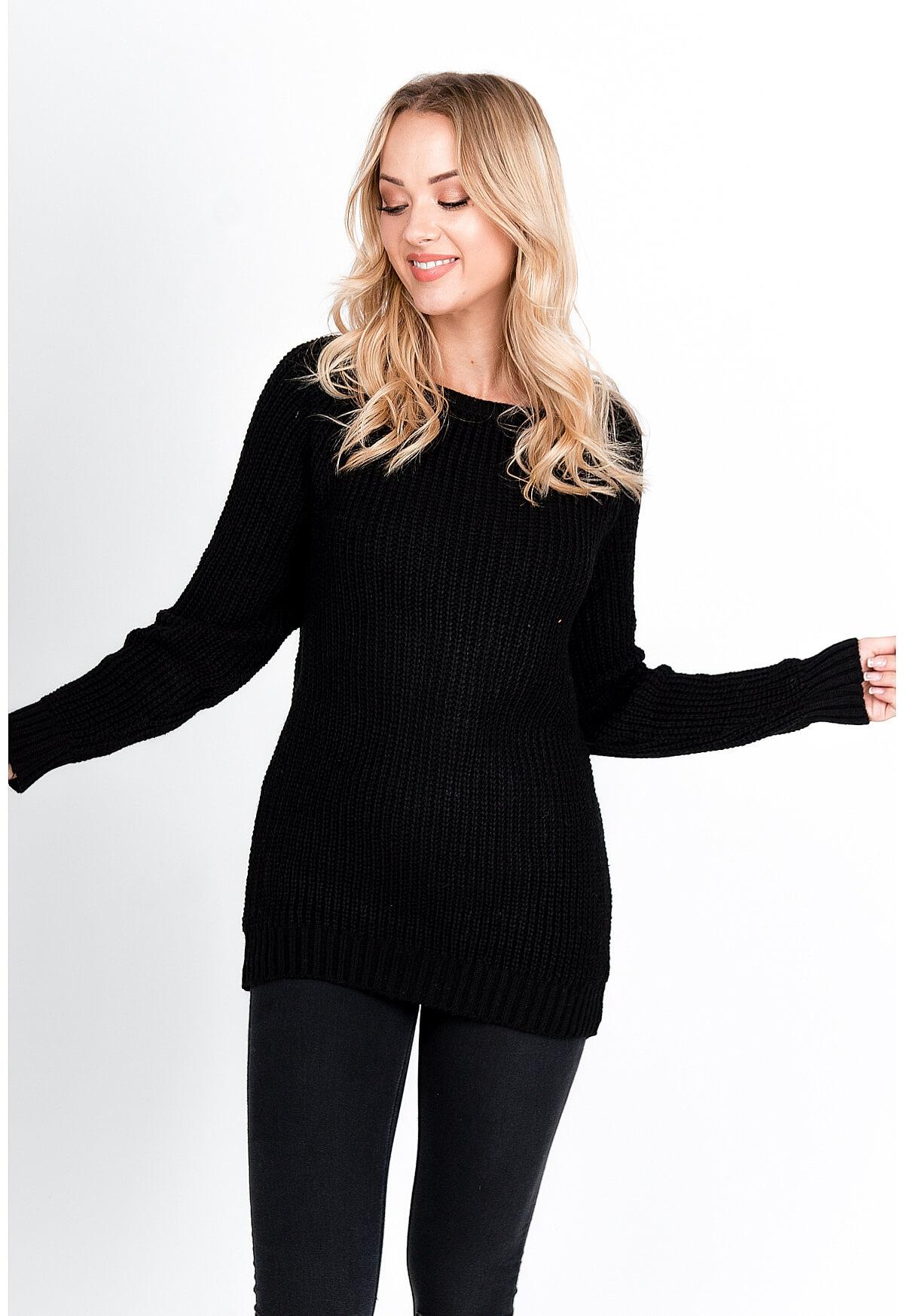Dlhý pastelovo čierny sveter