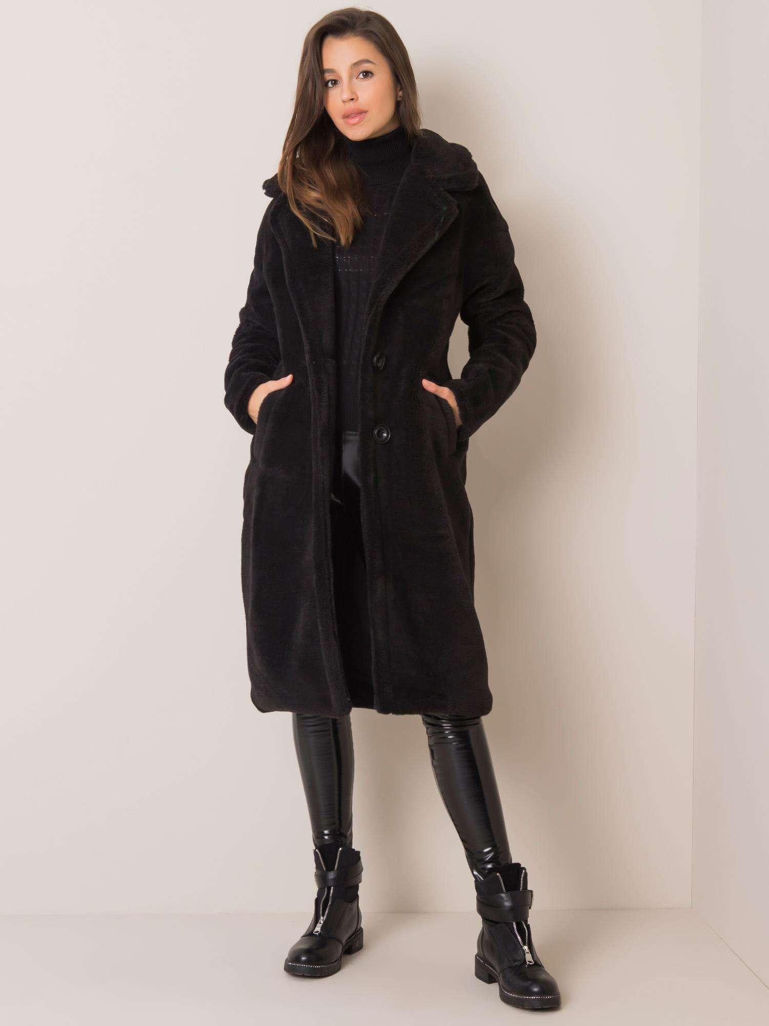 Čierny huňatý kabát - S/M