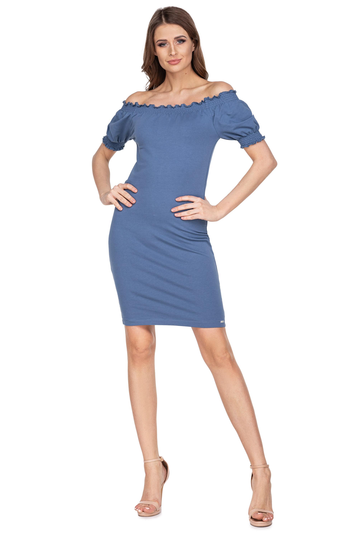 Pletené modré letné šaty s krátkymi rukávmi - S