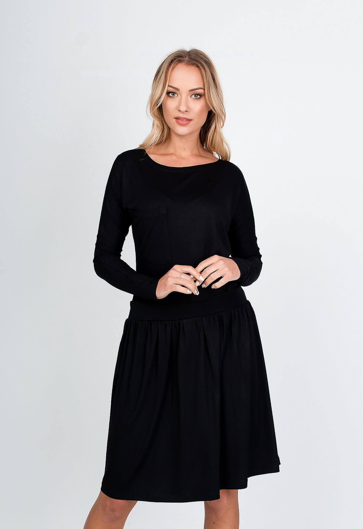 Polodlhé čierne šaty s dlhým rukávom - S