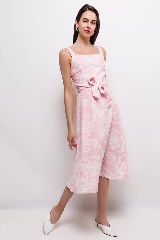 Polodlhé letné ružové šaty na ramienka - L