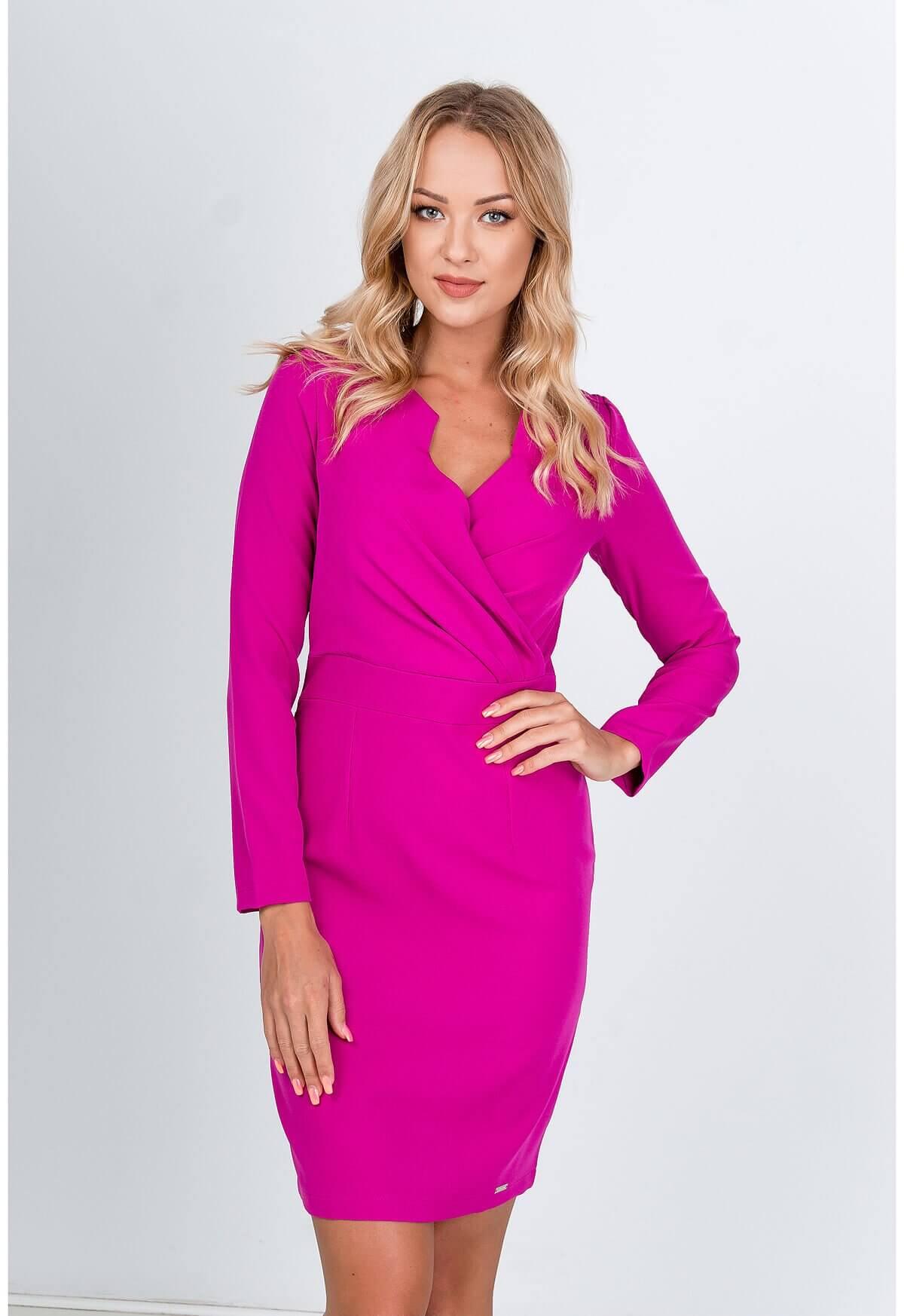 Polodlhé ružové spoločenské šaty - L