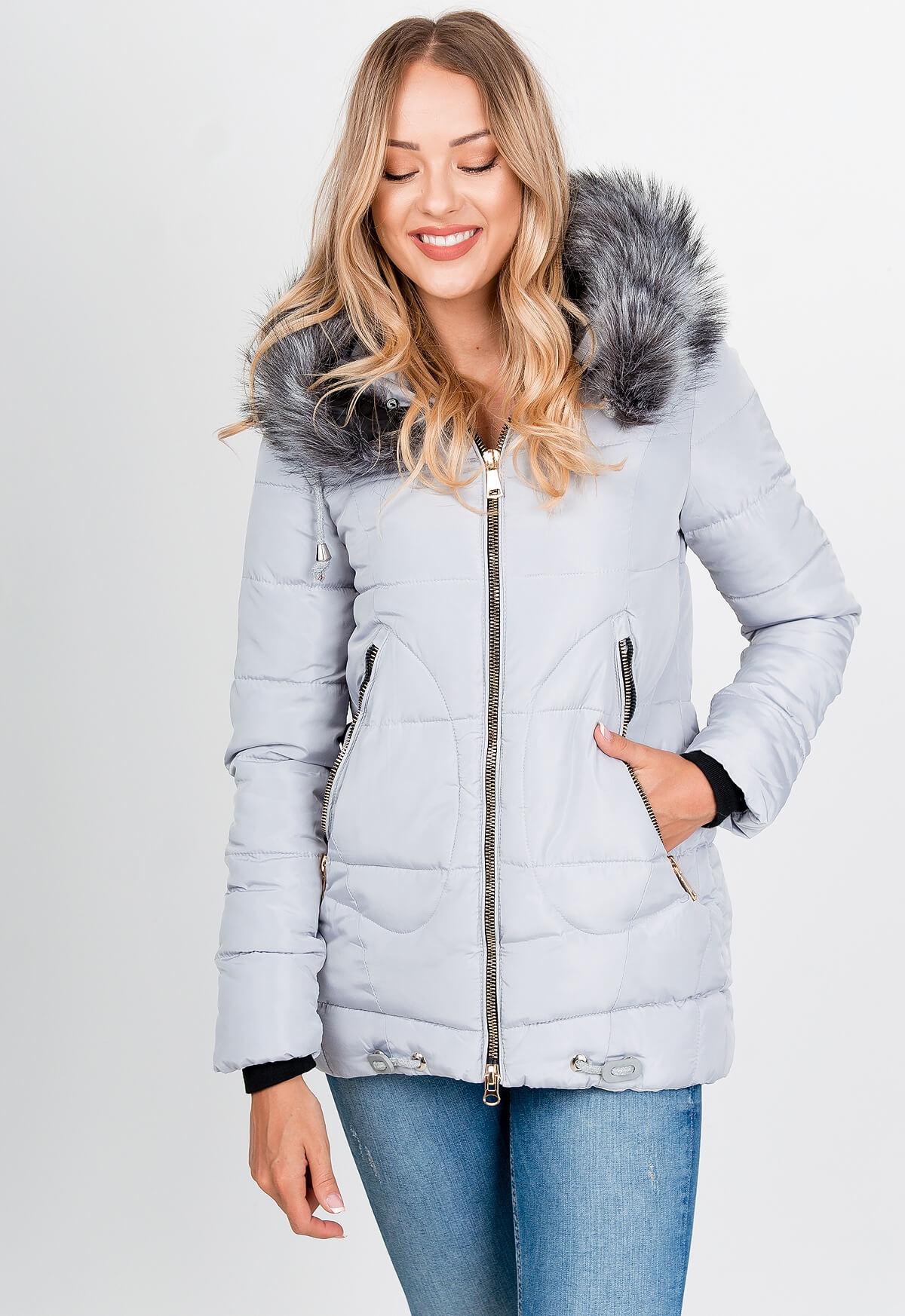 Dámska sivá zimná bunda s kapucňou - XXL