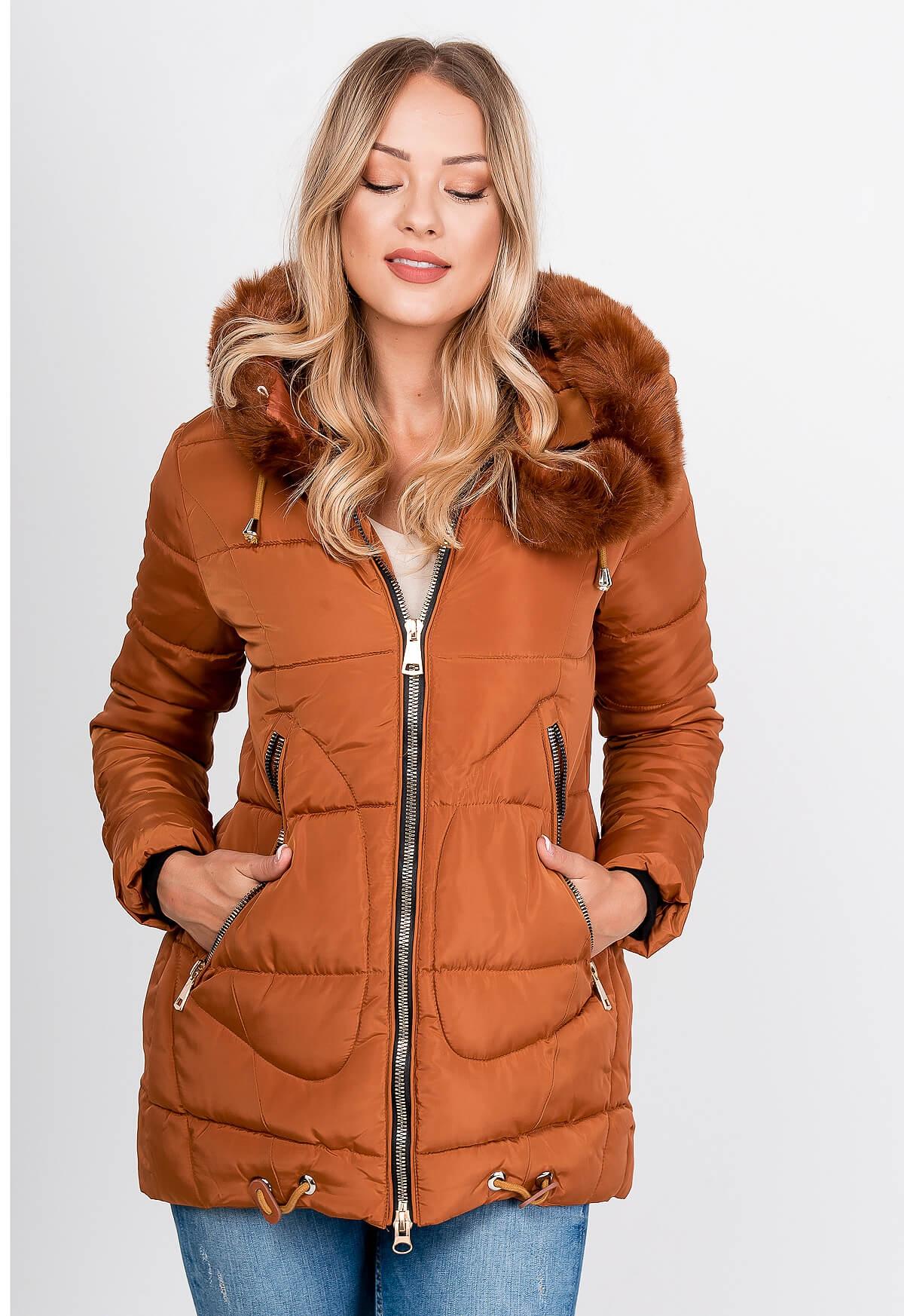 Dámska hnedá zimná bunda s kapucňou
