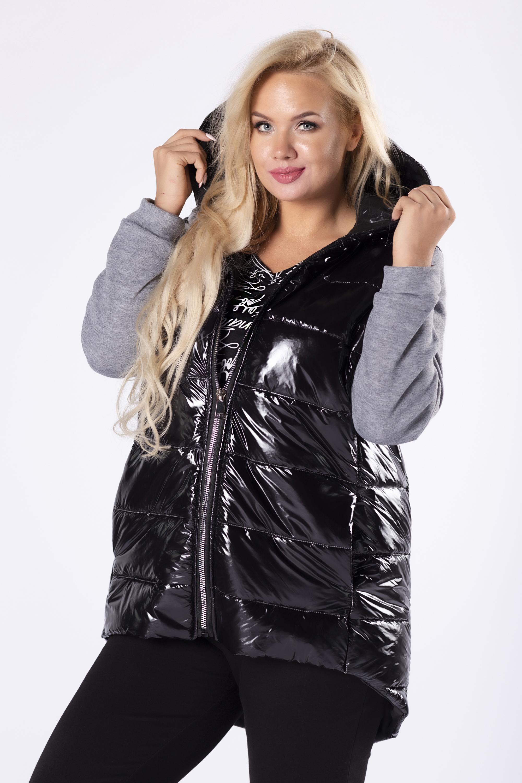 Lesklá čierna prešívaná bunda s rukávmi - 38