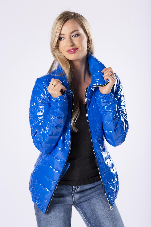 Lesklá modrá bunda - XXL