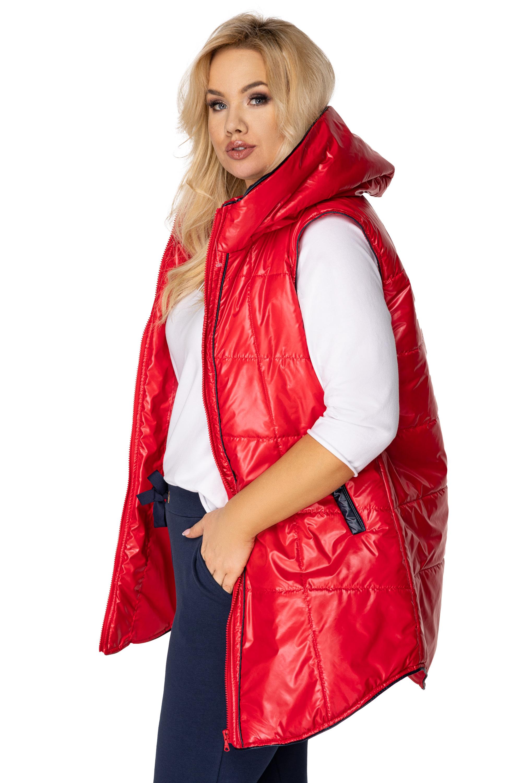 Prešívaná červená vesta s kapucňou - 42