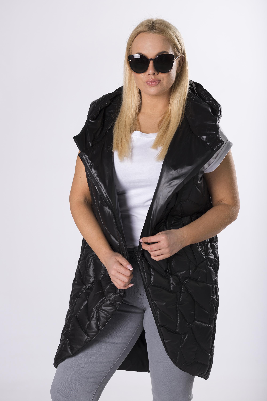 Čierna prešívaná vesta s kapucňou - XL