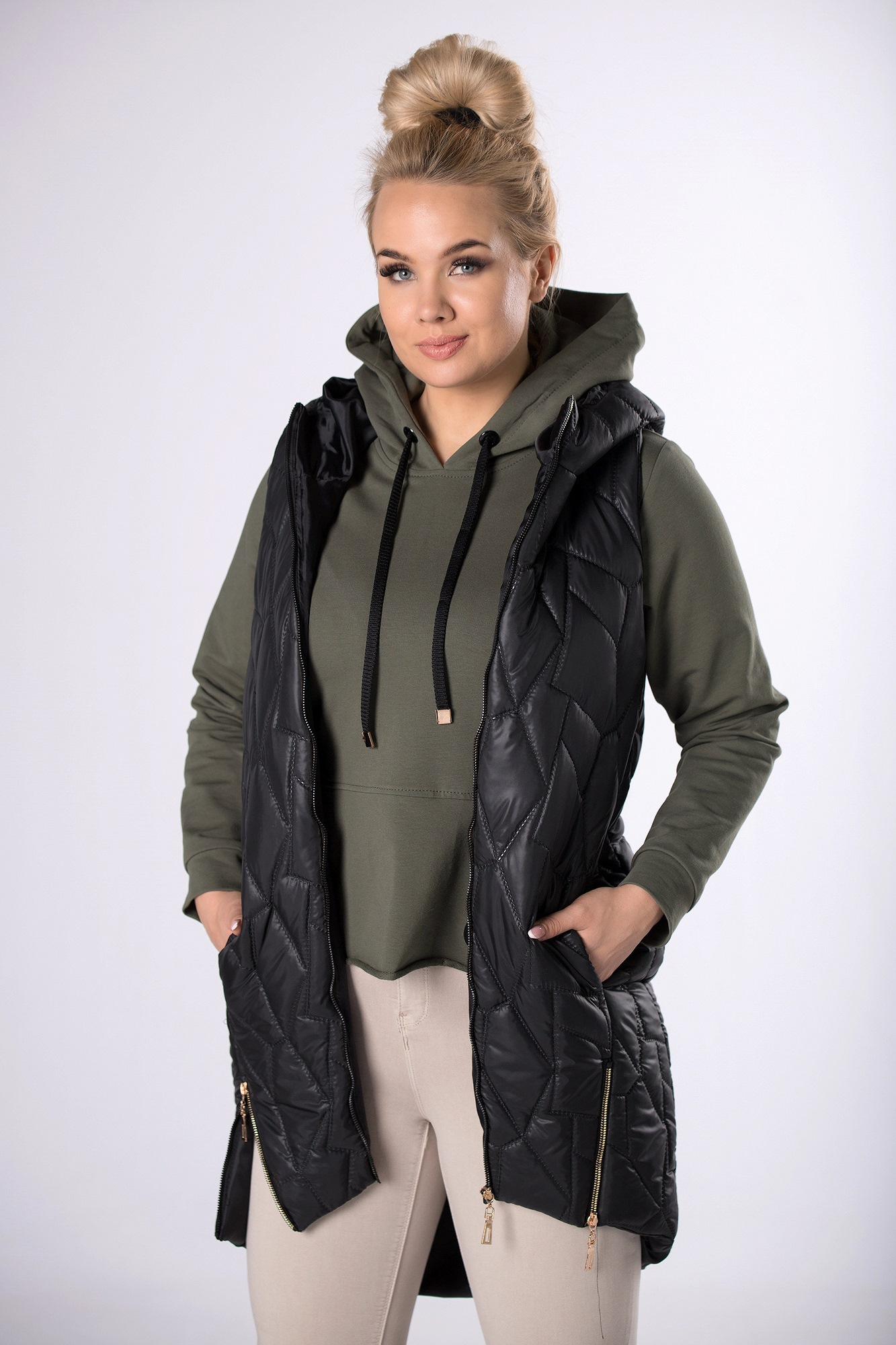 Čierna prešívaná vesta - XL